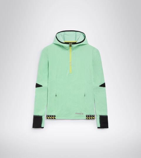 Sweat-shirt de running d'hiver - Femme L. HD WARM UP WINTER SWEAT VERT FRENE - Diadora
