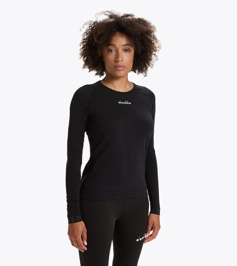Italian-made running T-shirt - Women L. LS SKIN FRIENDLY T-SHIRT BLACK - Diadora