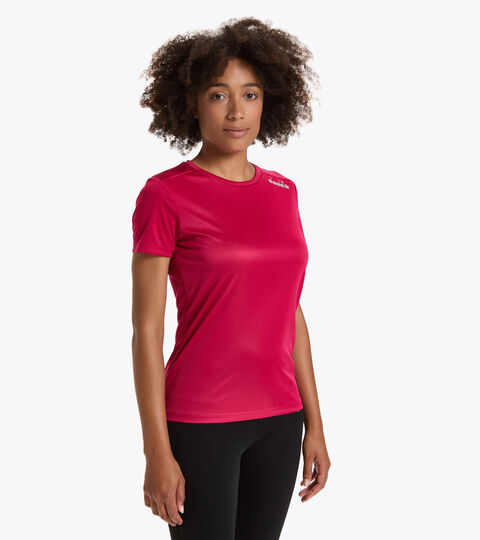 Camiseta para correr - Mujer L. SS CORE TEE ROSADO LLAMATIVO - Diadora