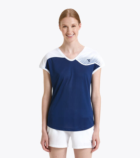 Camiseta de tenis - Mujer L. T-SHIRT COURT AZUL FINCA - Diadora
