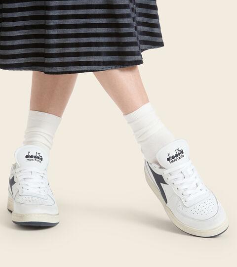 Heritage shoe - Unisex MI BASKET ROW CUT WHITE/BLUE CORSAIR - Diadora