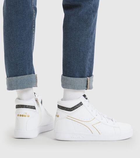 Footwear Sport BAMBINO GAME P HIGH GIRL GS BIANCO/NERO/ORO Diadora