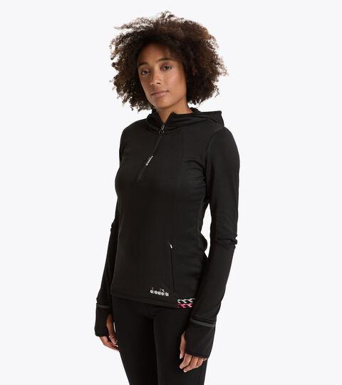 Sweat-shirt de running d'hiver - Femme L. HD WARM UP WINTER SWEAT NOIR - Diadora