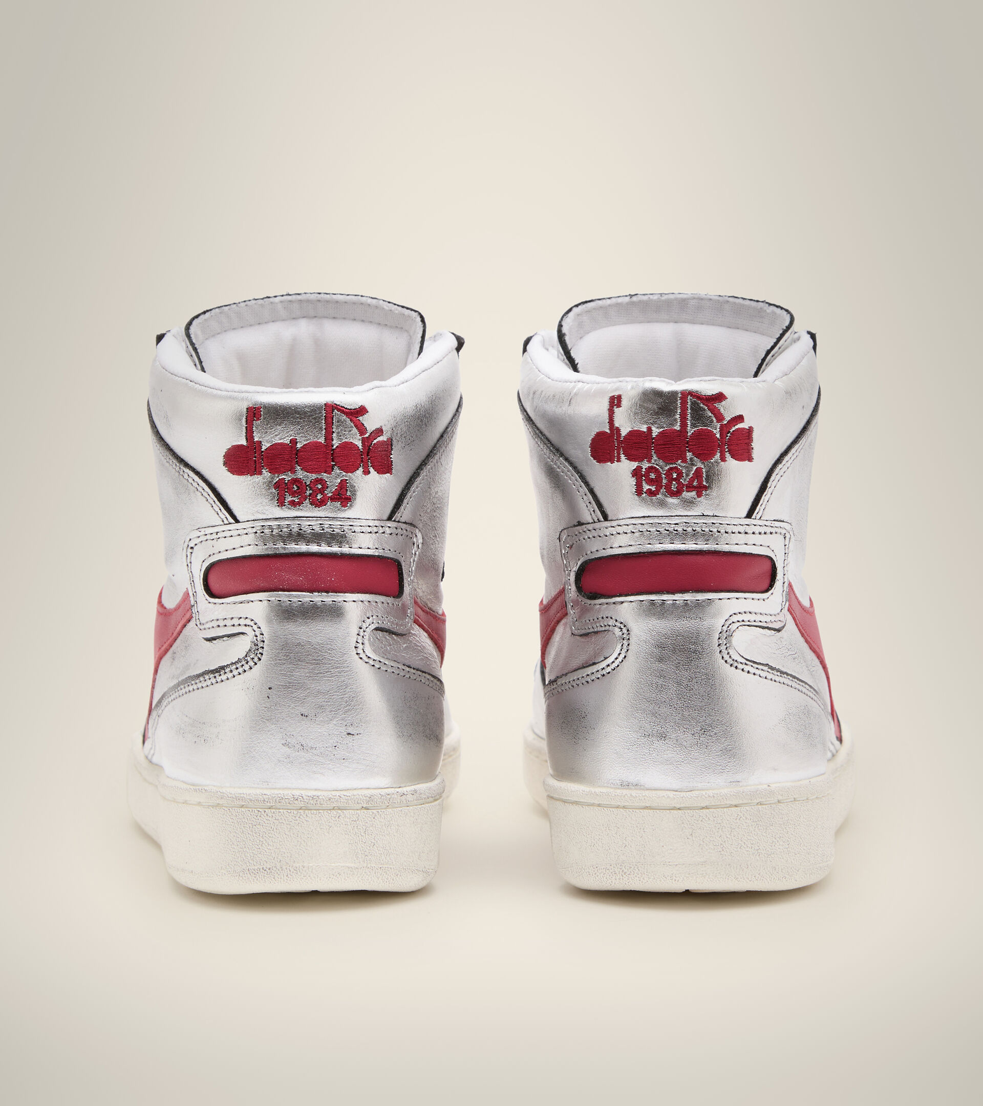 Footwear Heritage DONNA MI BASKET SILVER USED W SILVER/RED Diadora