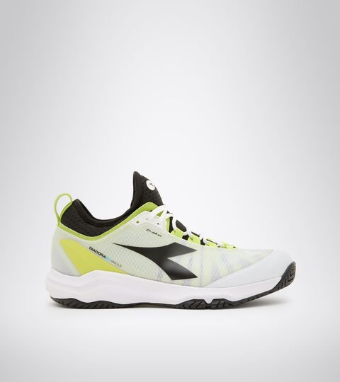 Clay and hard court tennis shoe - Men SPEED BLUSHIELD FLY 3 + AG WHITE/BLACK/LIME GREEN - Diadora