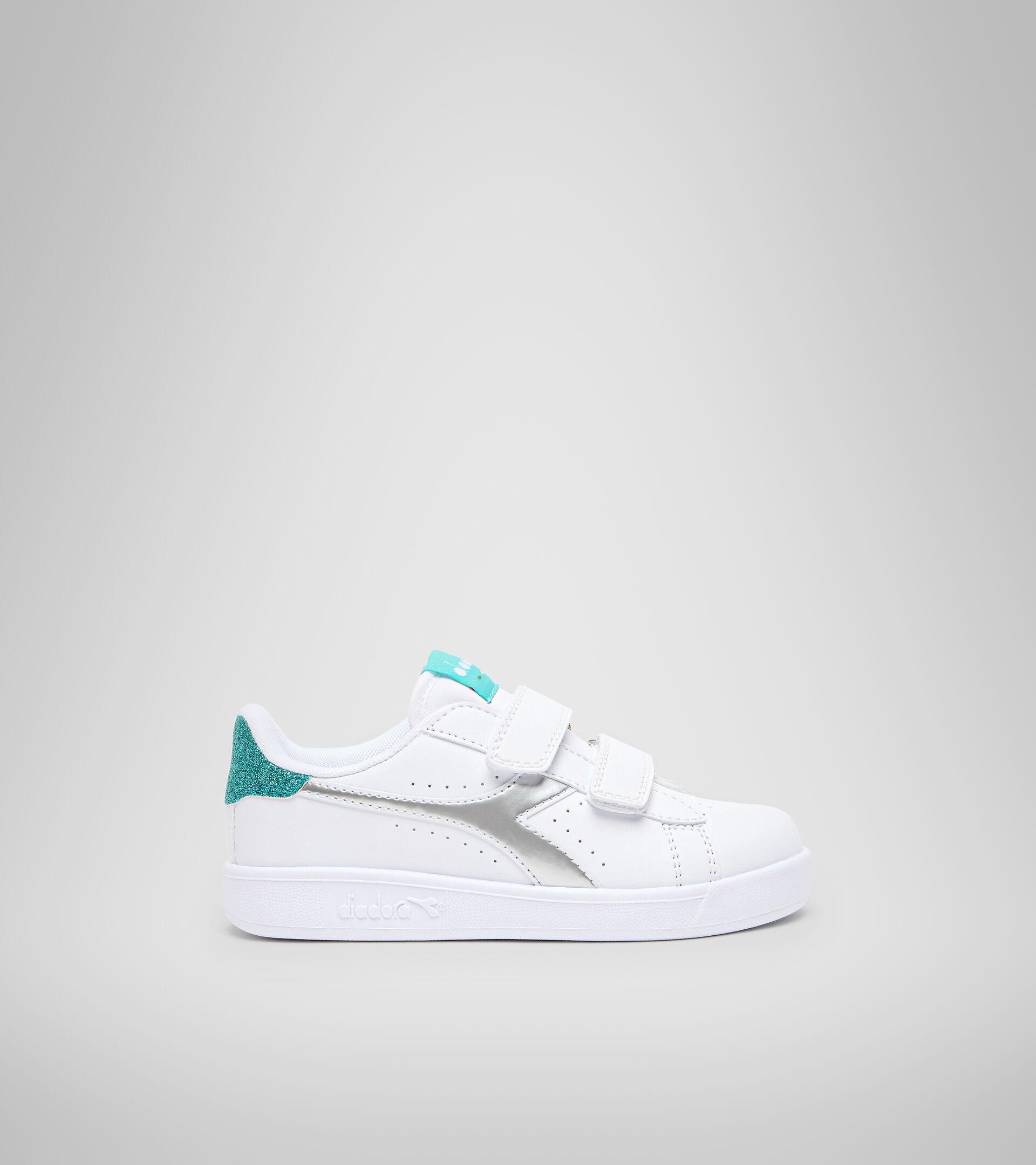 Footwear Sport BAMBINO GAME P PS GIRL WHITE/BLUE TURQUOISE Diadora
