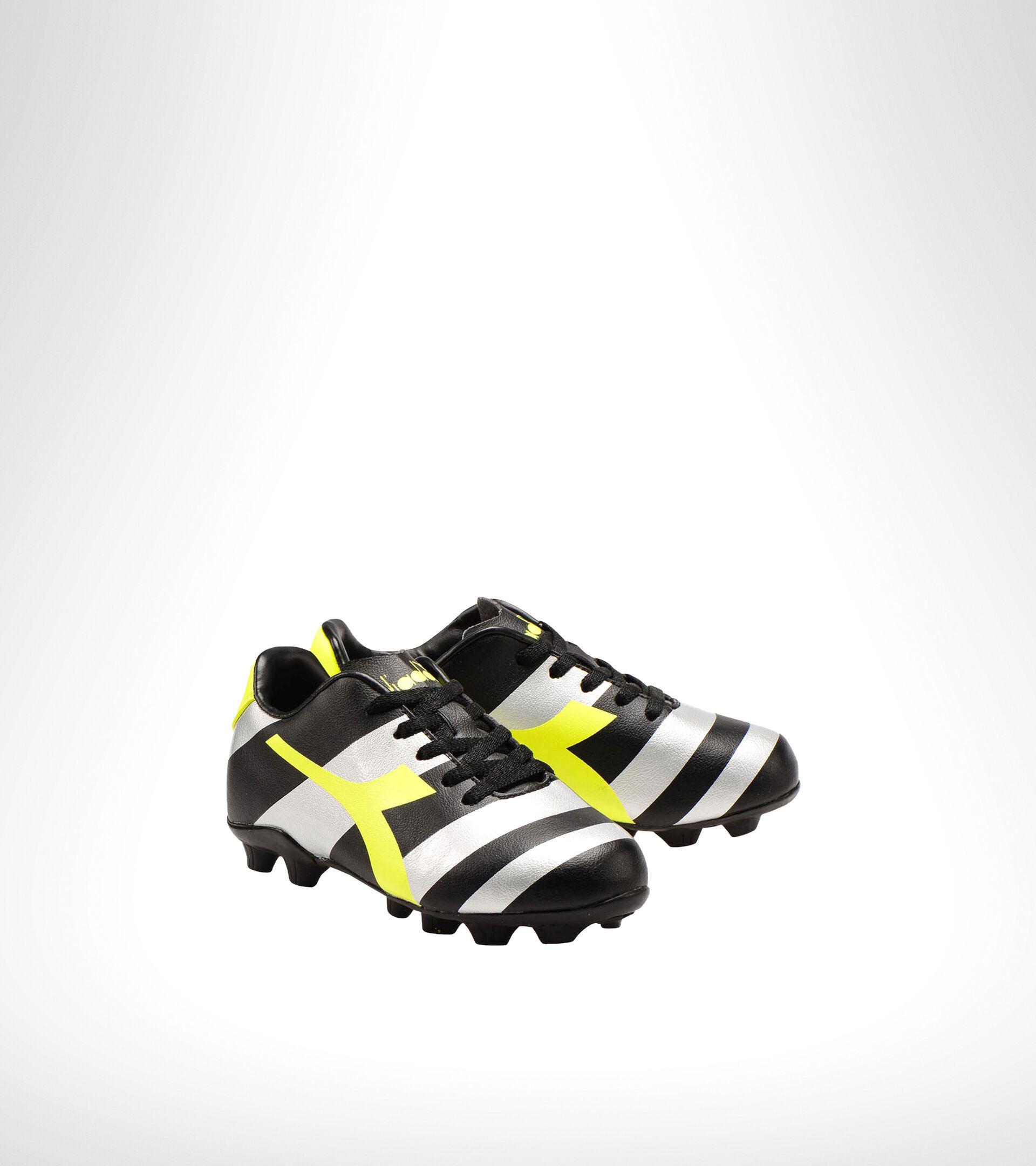 Fußballschuh für harte Böden - Unisex Kind RAPTOR R MD JR NERO/ARGENTO/GIALLO FL DD - Diadora
