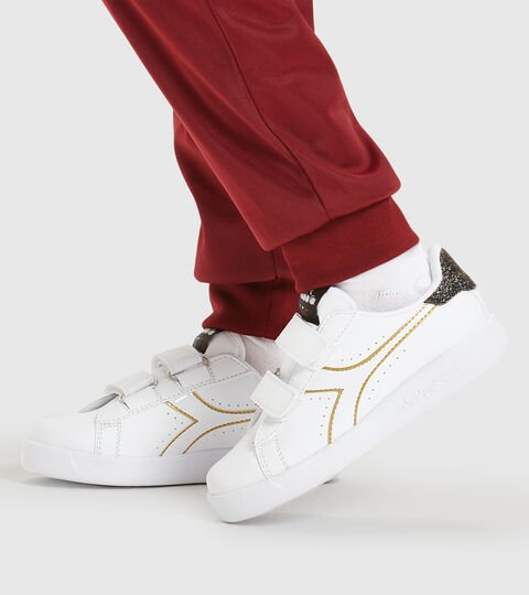 Sports shoes - Kids 4-8 years GAME P PS GIRL WHITE/BLACK/GOLD - Diadora