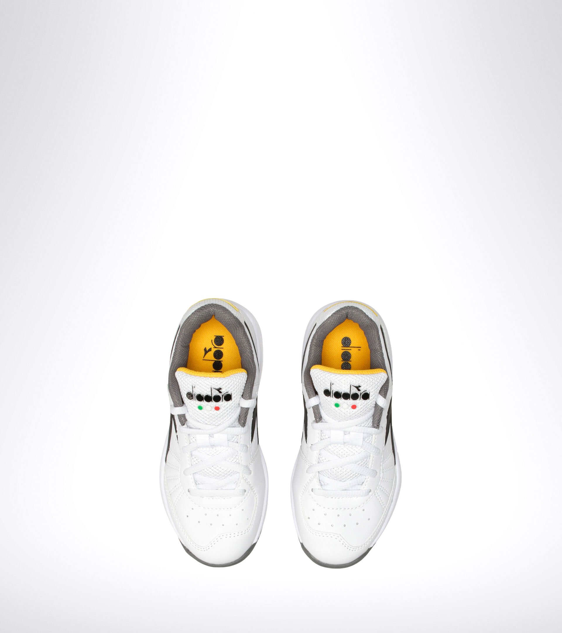 Clay and hard court tennis shoe - Kids S. CHALLENGE 3 SL JR WHITE/BLACK/SAFFRON - Diadora