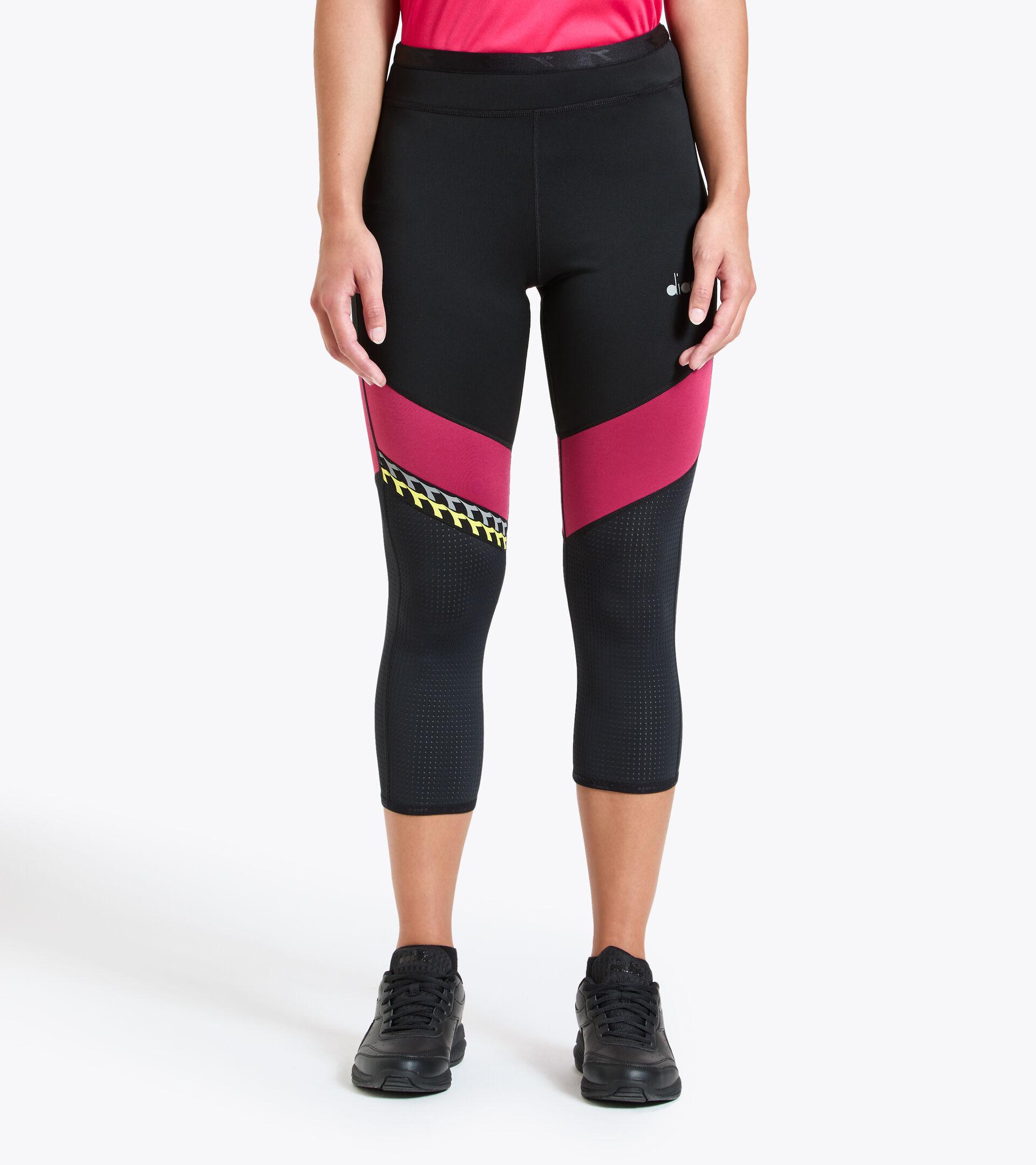 Leggings da running - Donna L. 6/8 REVERSIBLE TIGHTS BE ONE NERO - Diadora