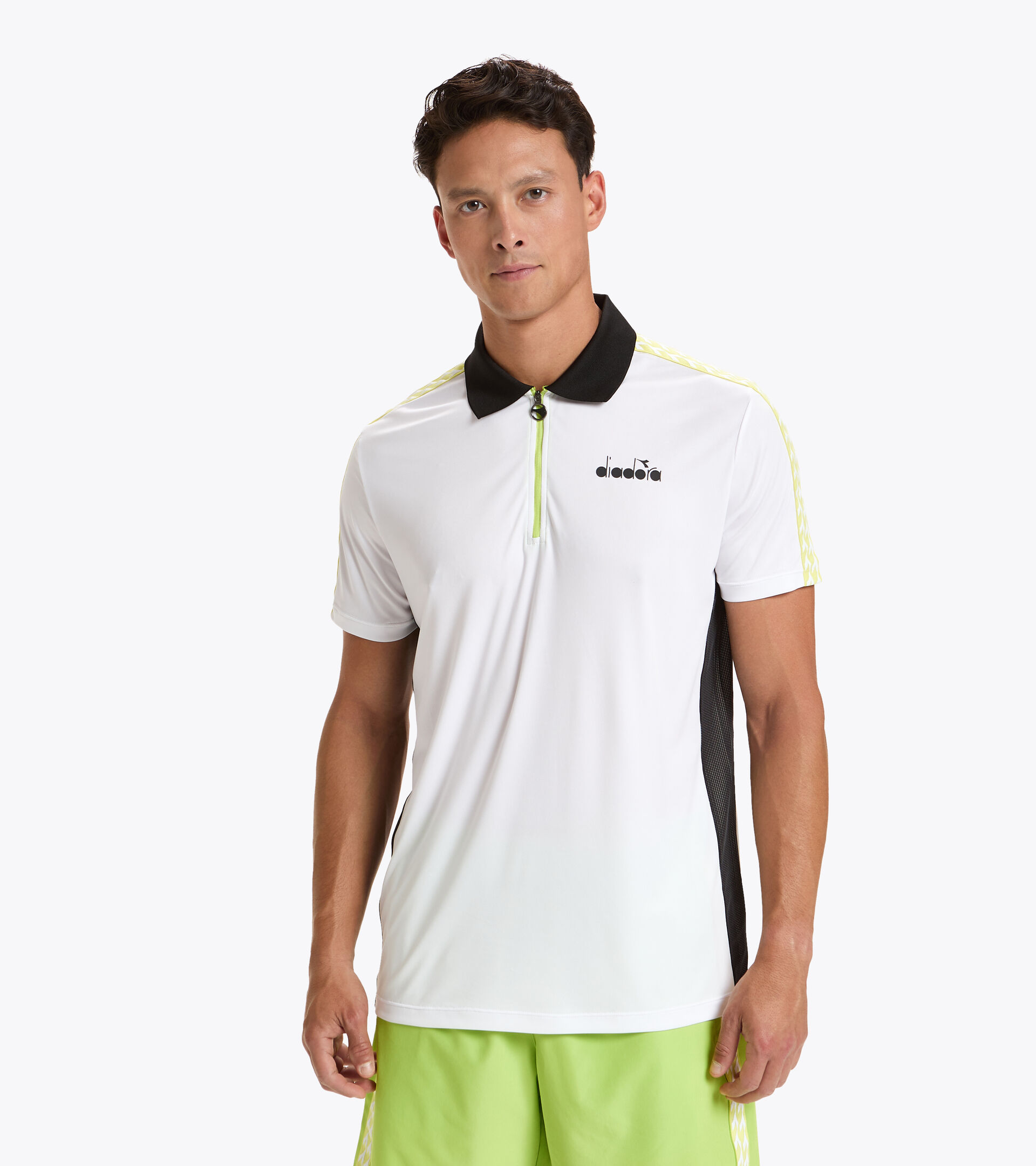 Tennis polo shirt - Men SS POLO CHALLENGE WHITE/BLACK - Diadora