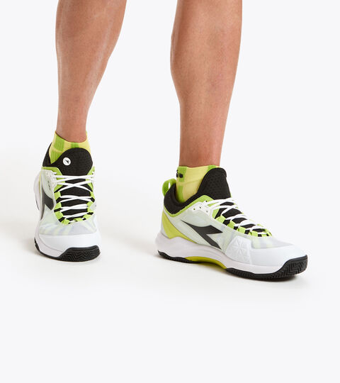 Clay court tennis shoe - Men SPEED BLUSHIELD FLY 3 + CLAY WHITE/BLACK/LIME GREEN - Diadora