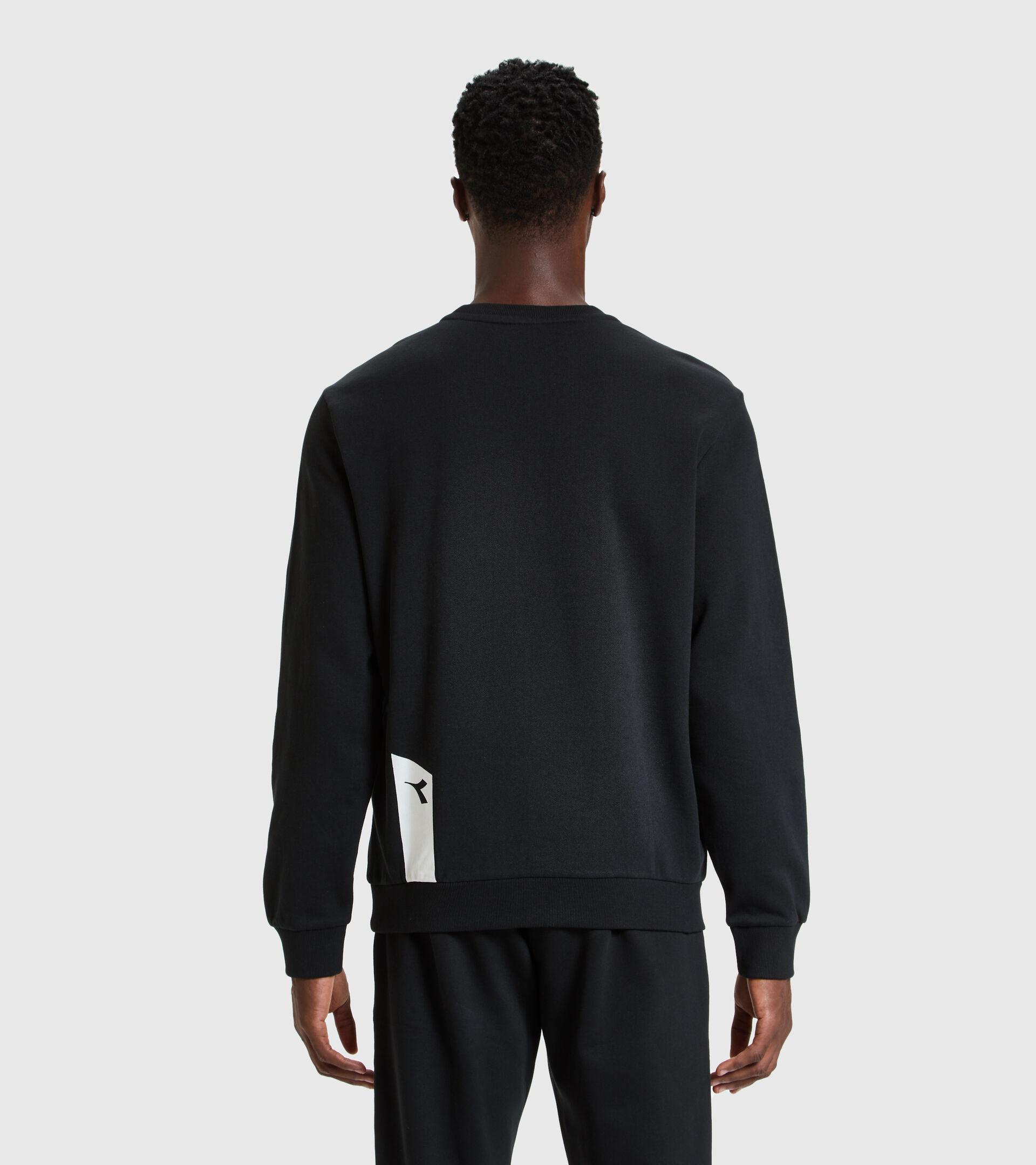 Crew-neck sweatshirt - Unisex SWEATSHIRT CREW ICON DARK SMOKE/WHITE/BLUE FLUO - Diadora