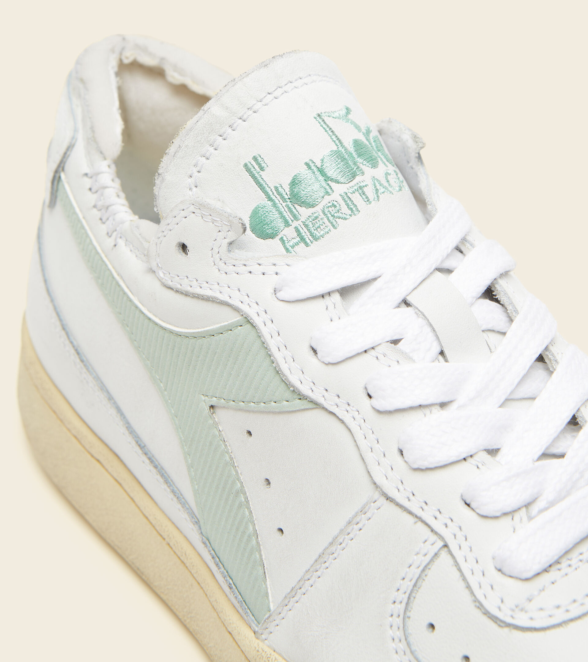 Footwear Heritage UNISEX MI BASKET ROW CUT BIANCO/VERDE FUMO Diadora