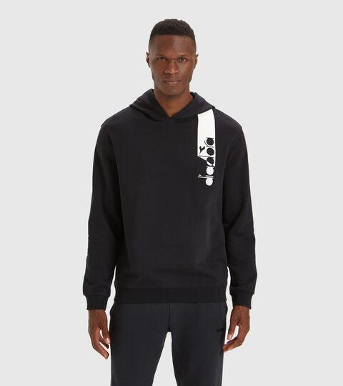 Hooded sweatshirt - Unisex HOODIE ICON DARK SMOKE/WHITE/BLUE FLUO - Diadora