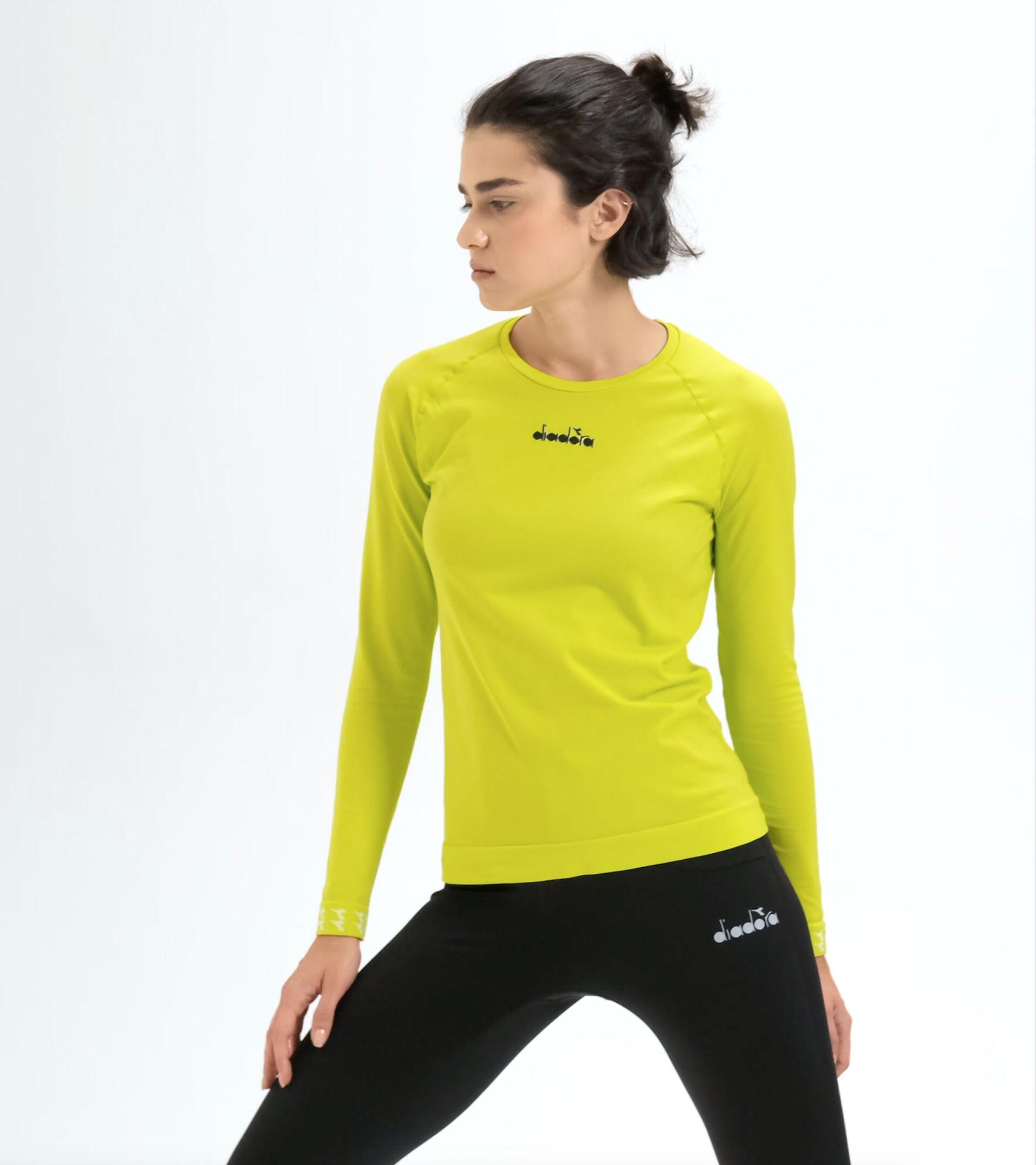 Lauf-T-Shirt Made in Italy - Damen L. LS SKIN FRIENDLY T-SHIRT SCHWEFELQUELLE - Diadora