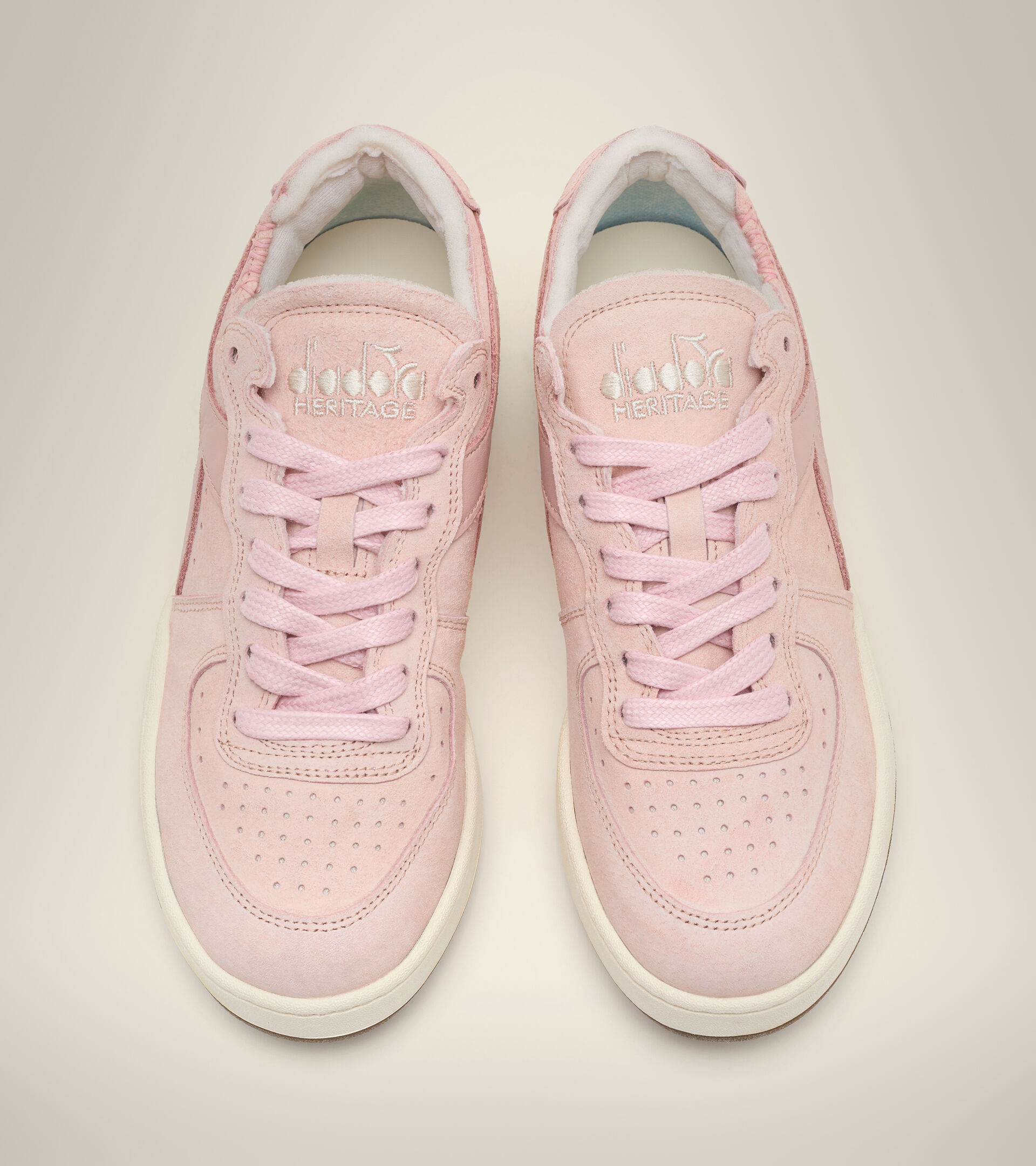 Footwear Heritage DONNA MI BASKET ROW CUT SUEDE USED WN PINK POWDER Diadora