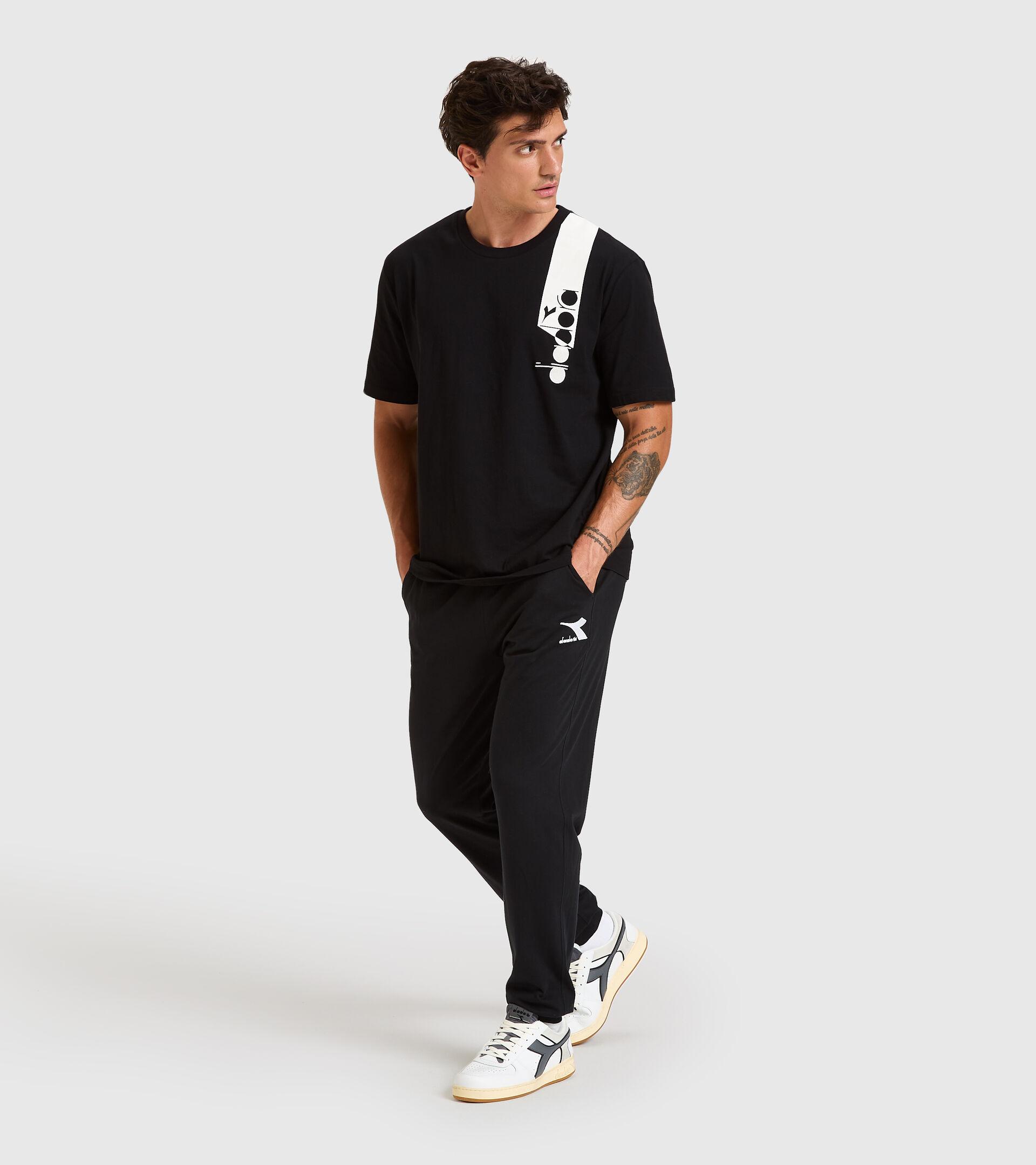 T-shirt - Unisex T-SHIRT SS ICON HIERRO NUEVE/BLANCO/AZUL FLUO - Diadora
