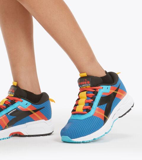 Running shoe - Unisex kids MYTHOS BLUSHIELD ELITE 4 Y MYKONOS BLUE/BLACK/FIESTA - Diadora