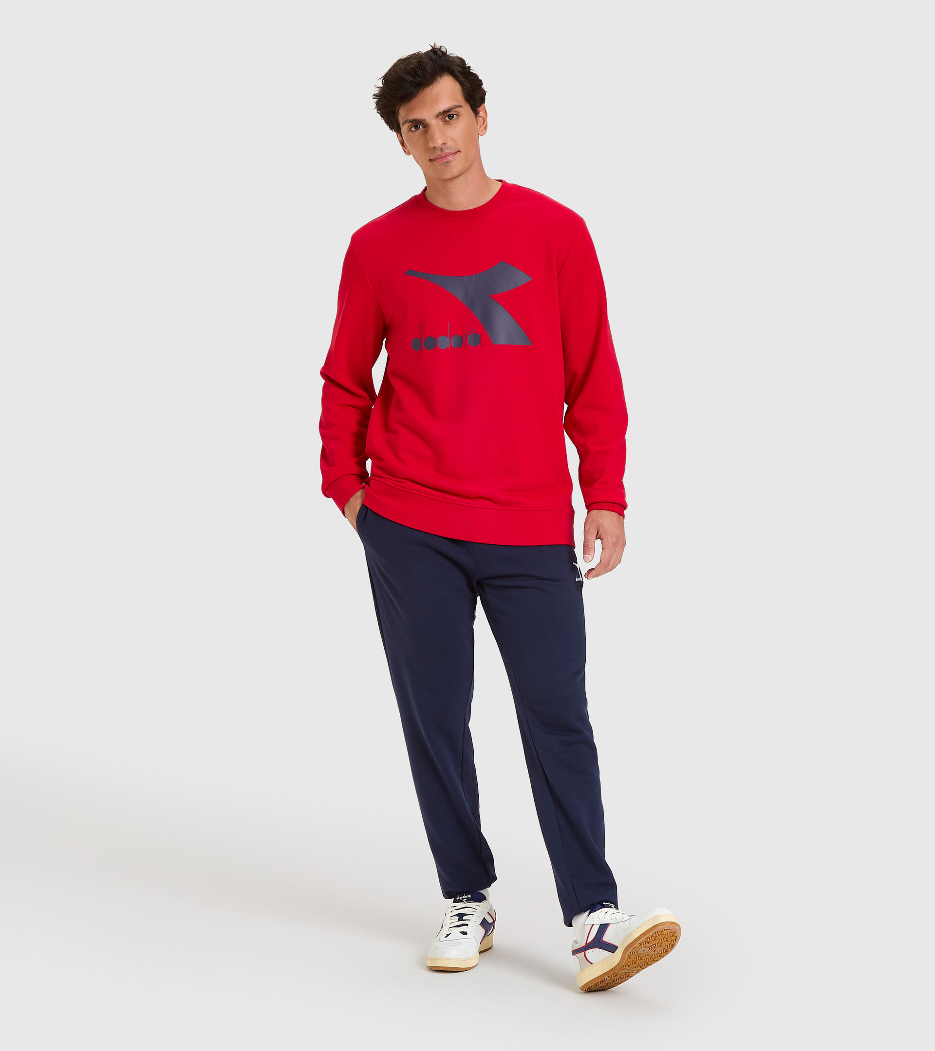 Sweater mit Rundhalsausschnitt - Herren SWEATSHIRT CREW LOGO CHROMIA TANGOROT - Diadora