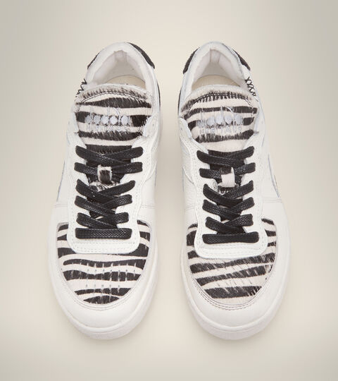 Footwear Heritage DONNA MI BASKET ROW CUT ZEBRA WN BLANCO/NEGRO Diadora