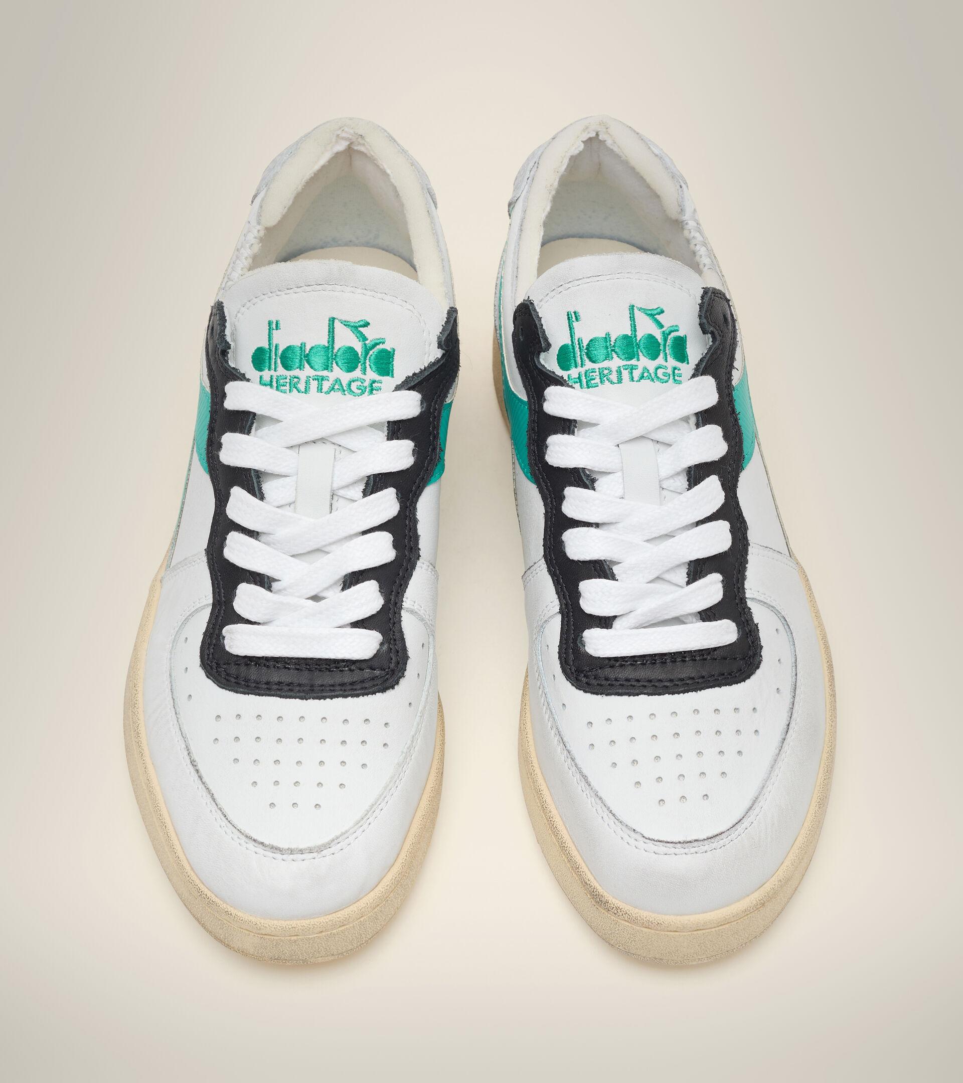 Footwear Heritage UNISEX MI BASKET ROW CUT WHITE/HIGH RISE/PEACOCK GREEN Diadora