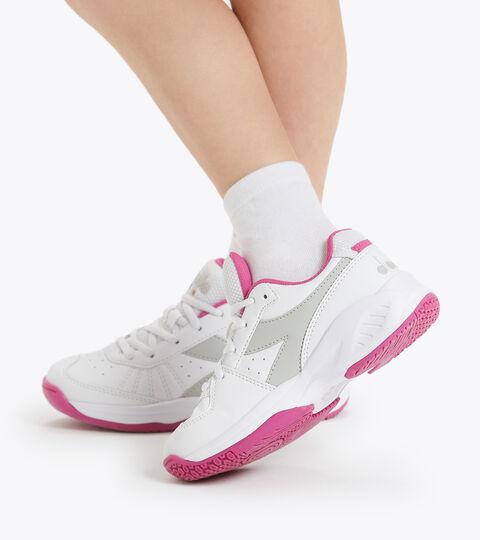 Clay and hard court tennis shoe - Kids S. CHALLENGE 3 SL JR WHITE/IBIS ROSE - Diadora