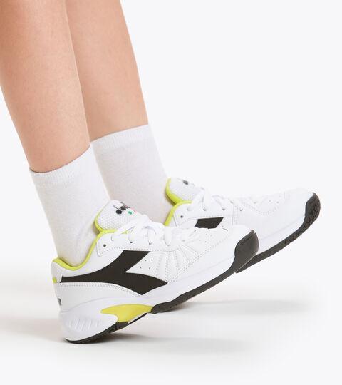 Chaussures de tennis pour terrains durs et terre battue - Unisexe Enfant S. CHALLENGE 3 SL JR BLC/NR/SOURCES SULFUREUSES - Diadora