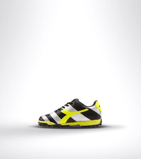 Hard ground and artificial turf football boot - Unisex kids RAPTOR R TF JR BLACK/SILVER/YELLOW FL DD - Diadora