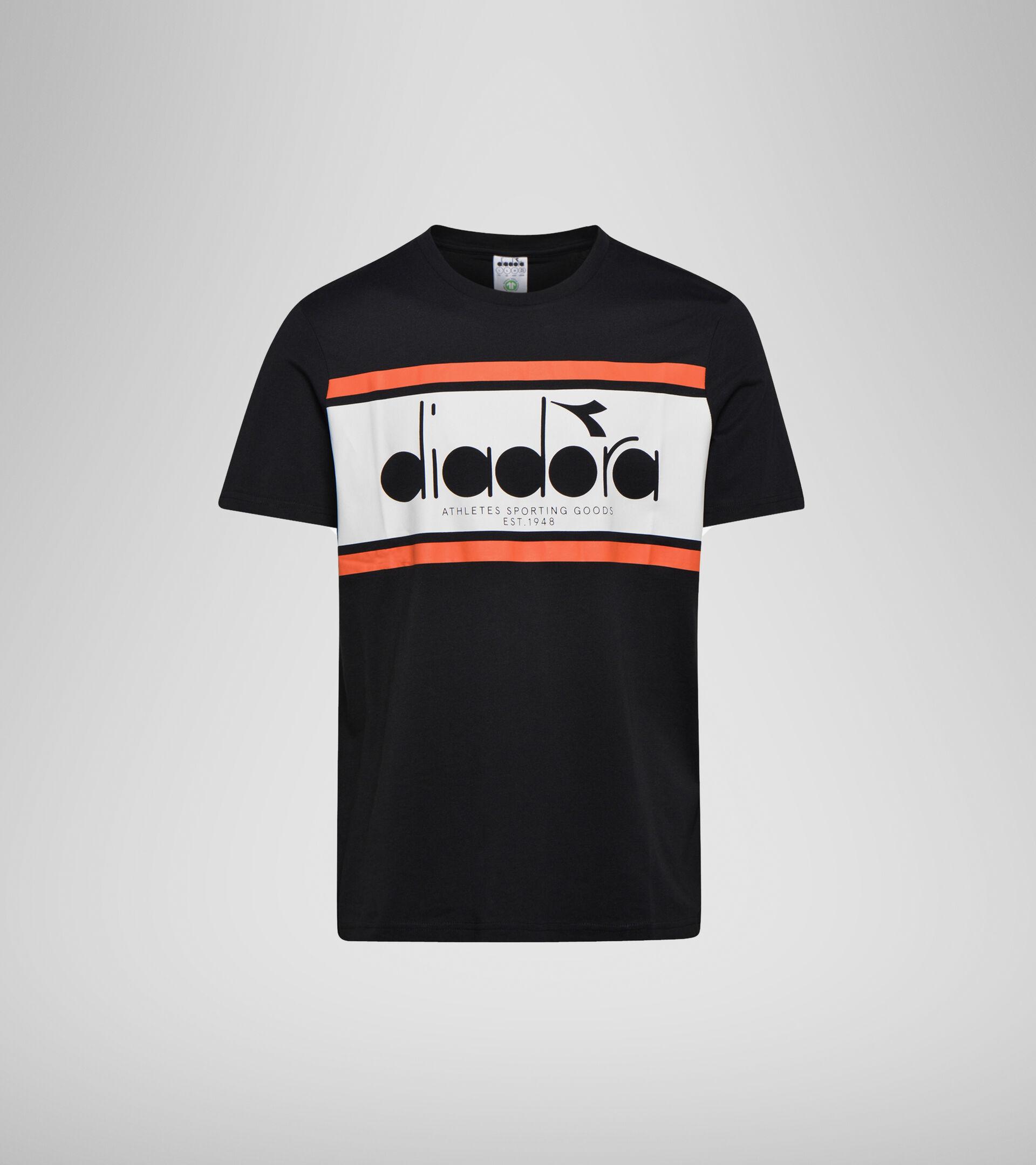 Apparel Sportswear UOMO SS T-SHIRT SPECTRA OC NERO/BIANCO LATTE/ARANCIATA Diadora