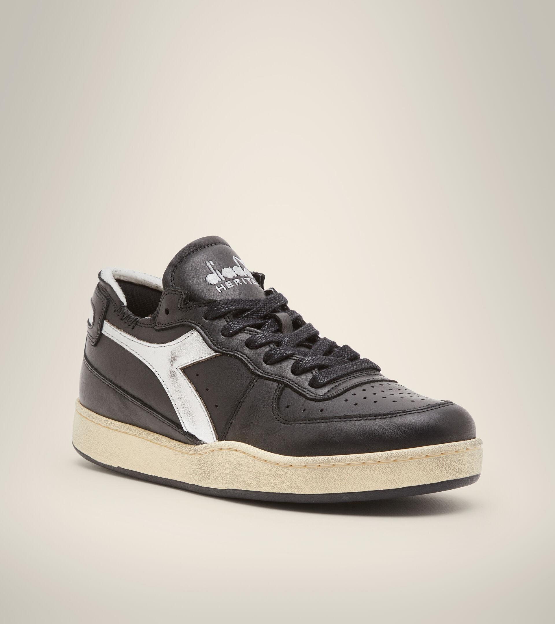 Heritage shoe - Unisex MI BASKET ROW CUT NEW MOON BLACK - Diadora