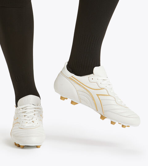 Chaussures de football pour terrains compacts - Made in Italy BRASIL ITALY OG LT+  MDPU BLANC/OR BRUN - Diadora
