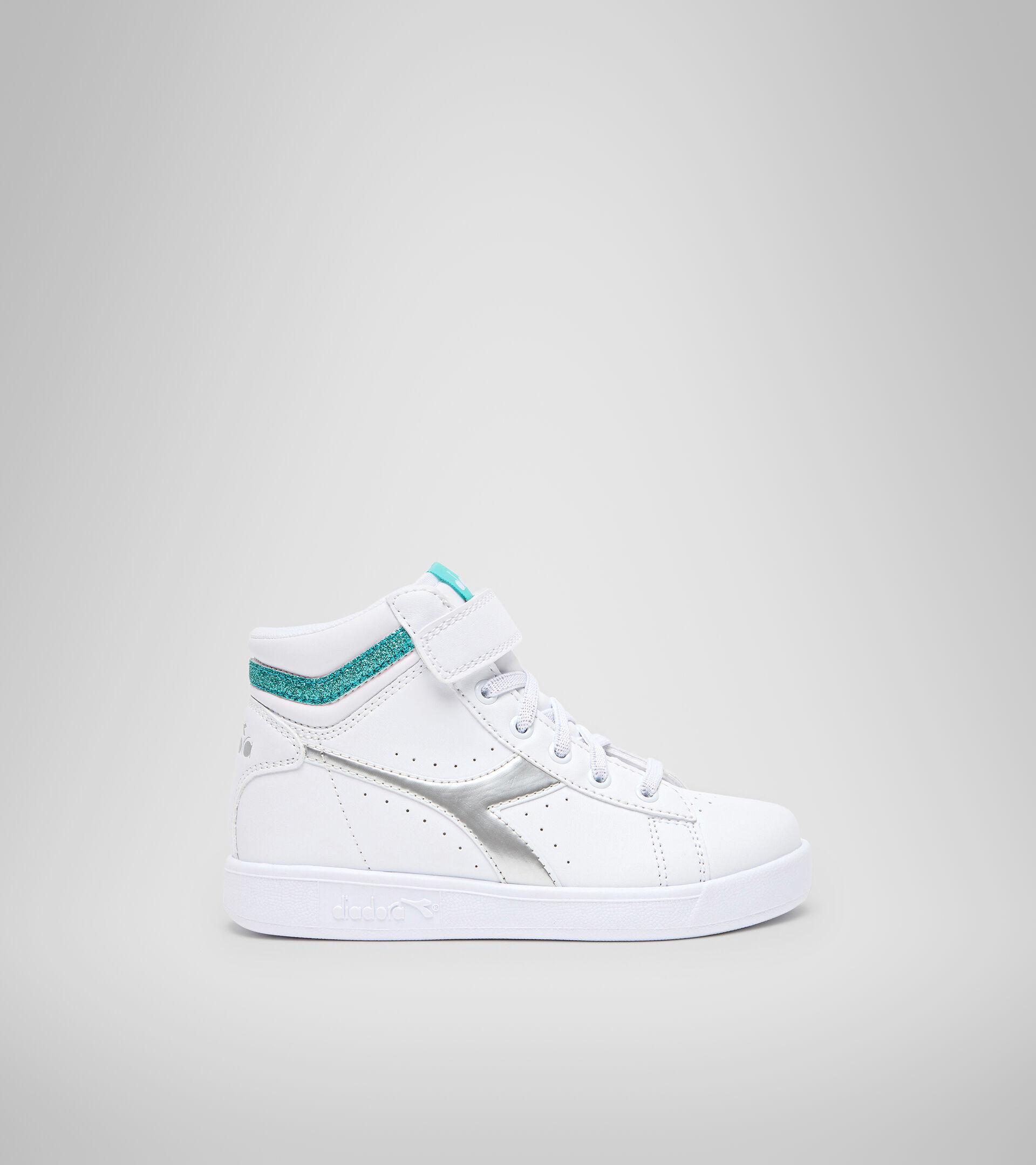 Footwear Sport BAMBINO GAME P HIGH GIRL PS WHITE/BLUE TURQUOISE Diadora