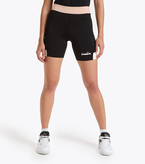 Tennis Shorts - Women L. SHORT TIGHTS POCKET BLACK/MAHOGANY ROSE - Diadora