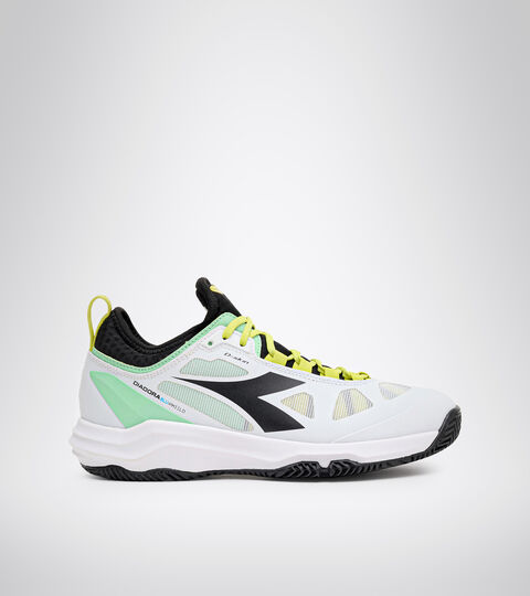 Clay court tennis shoe - Women SPEED BLUSHIELD FLY 3 + W CLAY WHITE/BLACK/GREEN ASH - Diadora