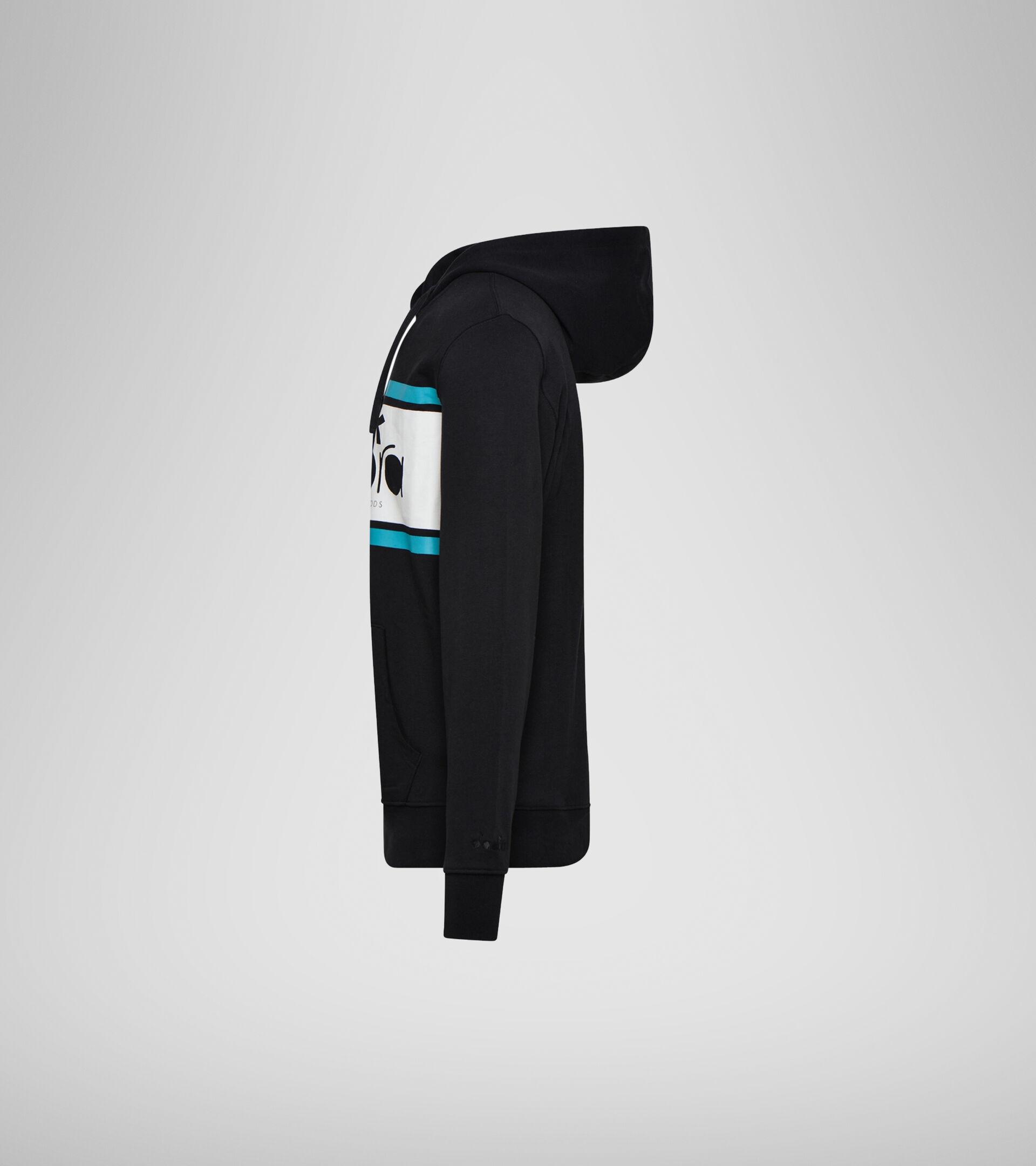 Apparel Sportswear UOMO HOODIE SPECTRA BLACK/ACQUA GREEN/WHITE MILK Diadora
