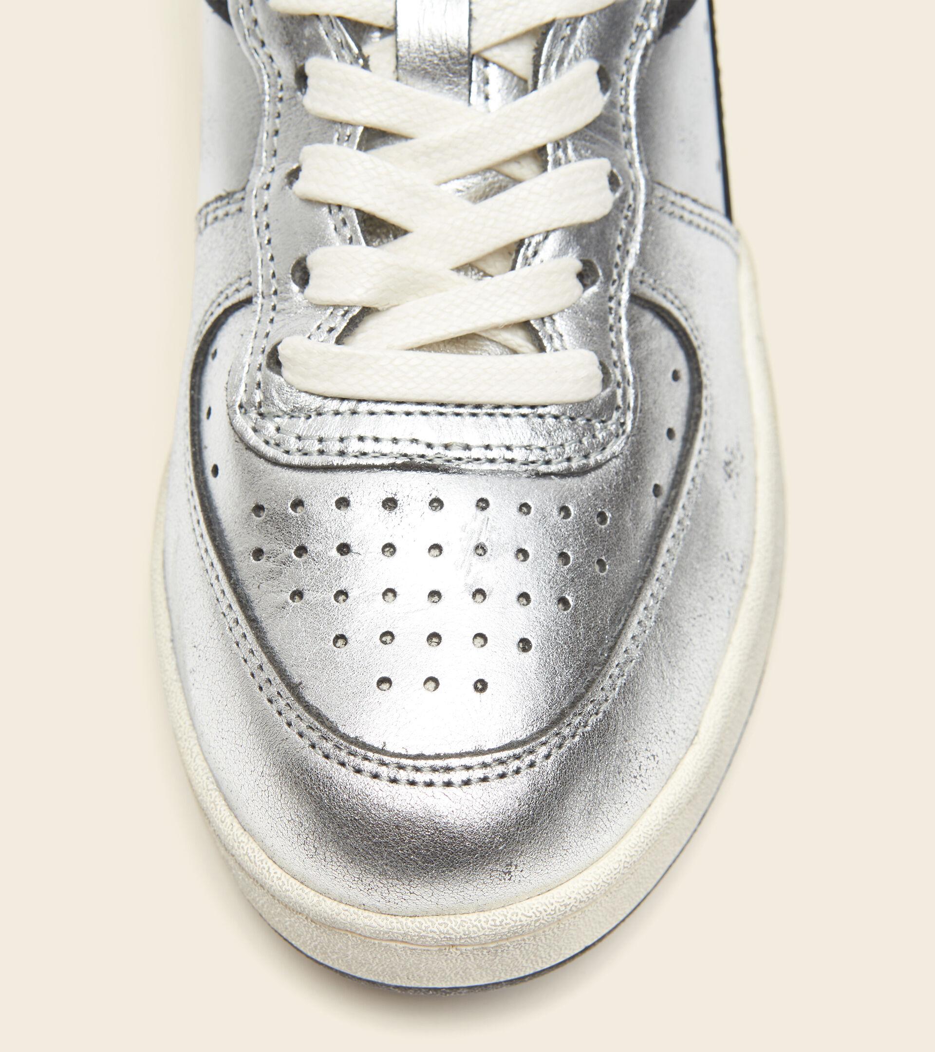 Heritage-Schuh - Damen MI BASKET ROW CUT SILVER USED W ARGENTO METALLIZZATO/NERO - Diadora