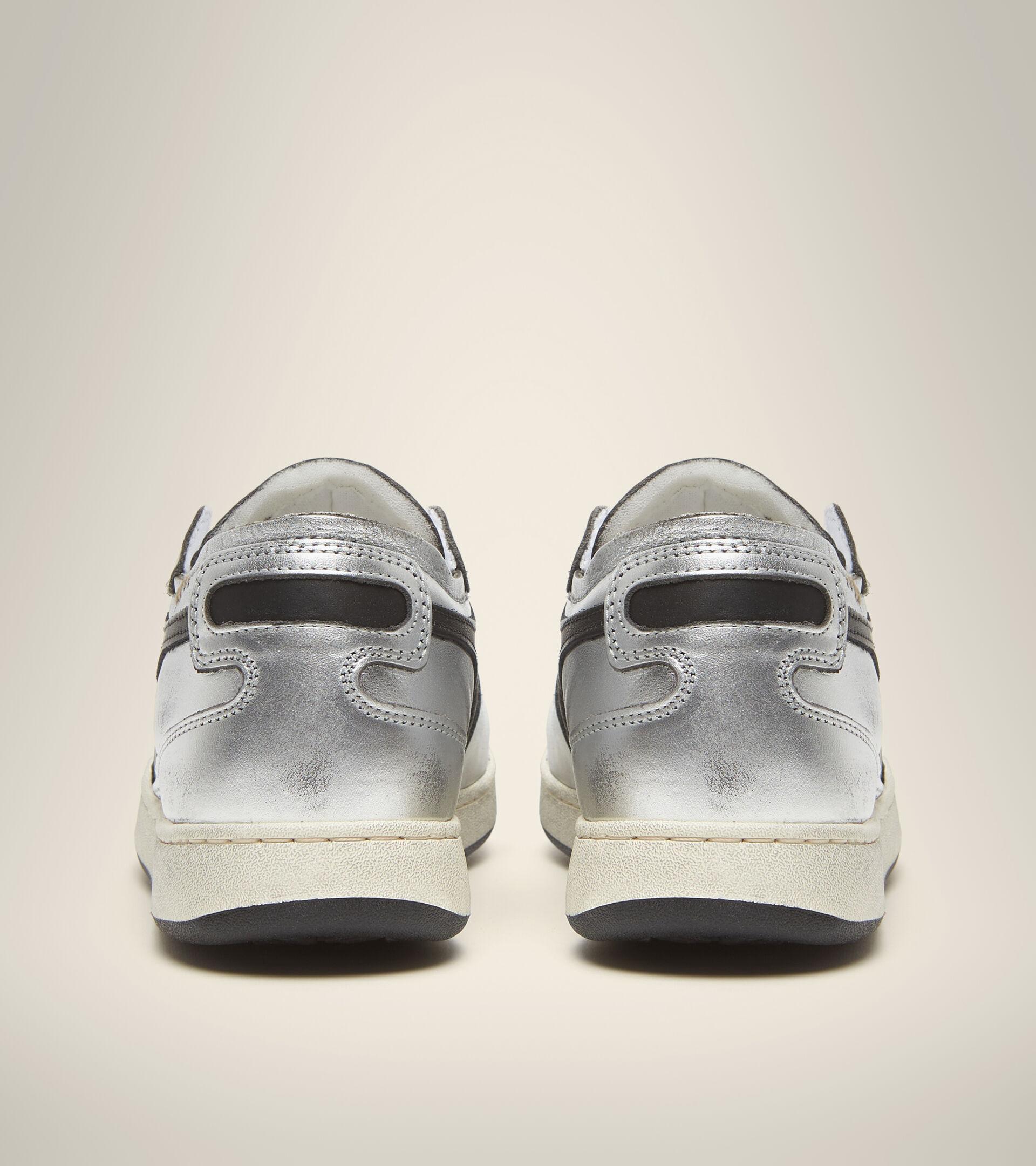 Footwear Heritage DONNA MI BASKET ROW CUT SILVER USED W ARGENTO METALLIZZATO/NERO Diadora