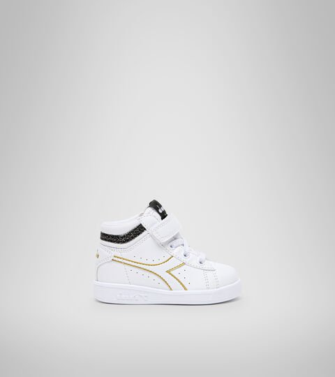 Sports shoes - Toddlers 1-4 years GAME P HIGH GIRL TD WHITE/BLACK/GOLD - Diadora