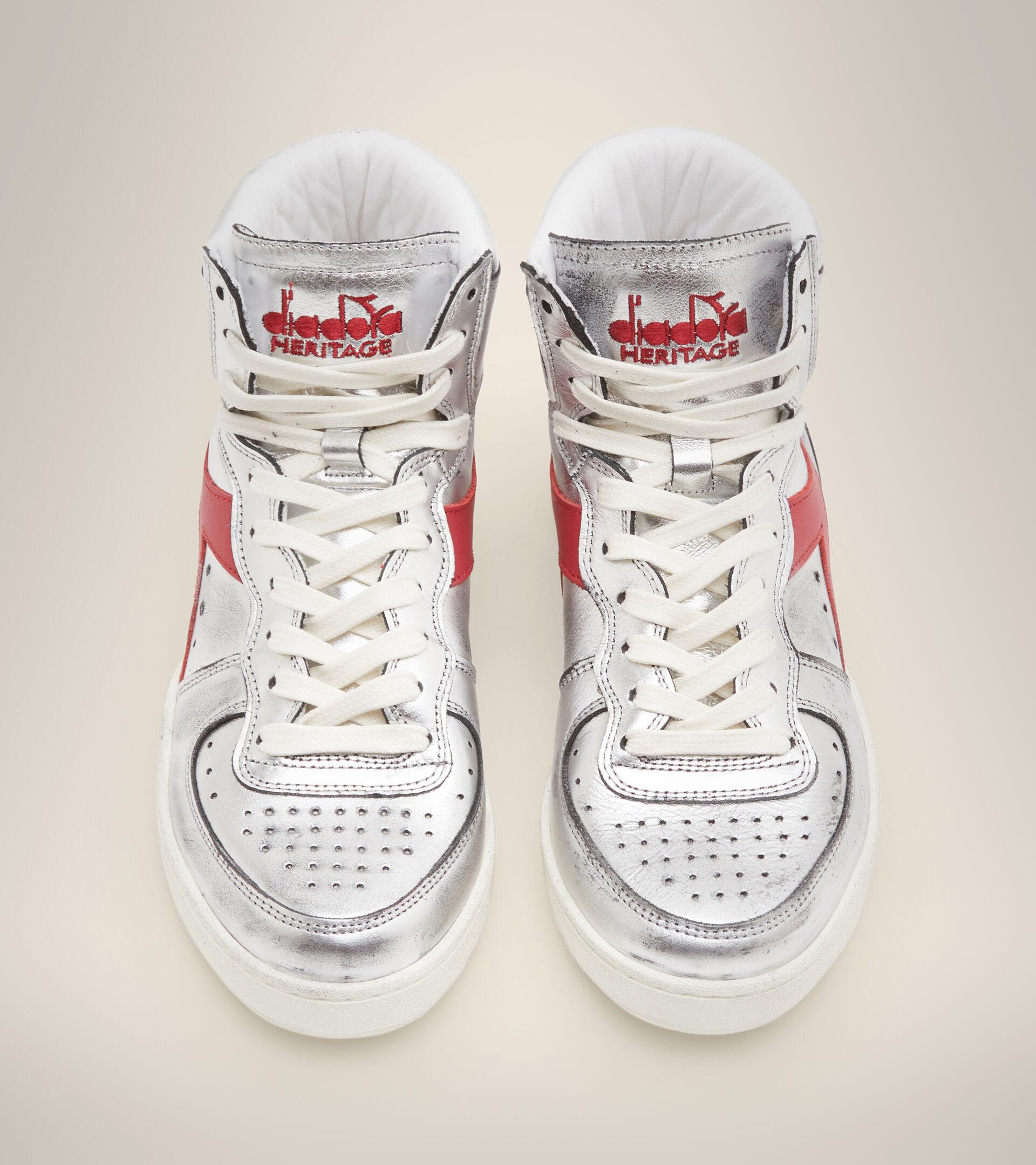 Footwear Heritage DONNA MI BASKET SILVER USED W ARGENTO/ROSSO Diadora