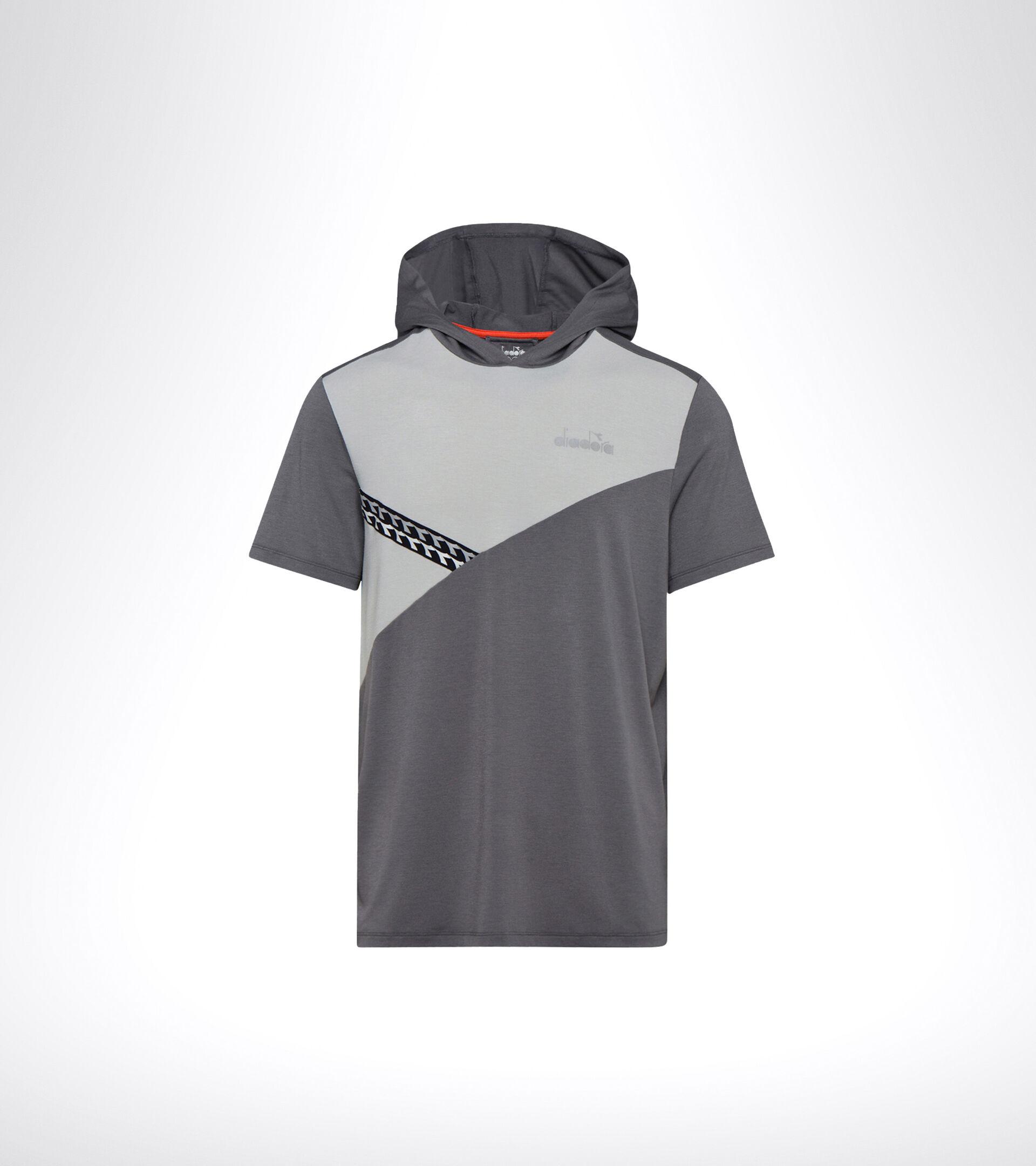 Running hooded T-shirt - Men HD SS LIGHT SWEATSHIRT BE ONE GRY QUIET SHADE/OYSTER MUSHROO - Diadora
