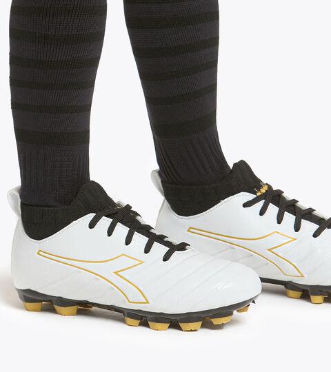Firm ground football boot - Kids BRASIL ELITE R LPU JR WHITE/GOLD - Diadora