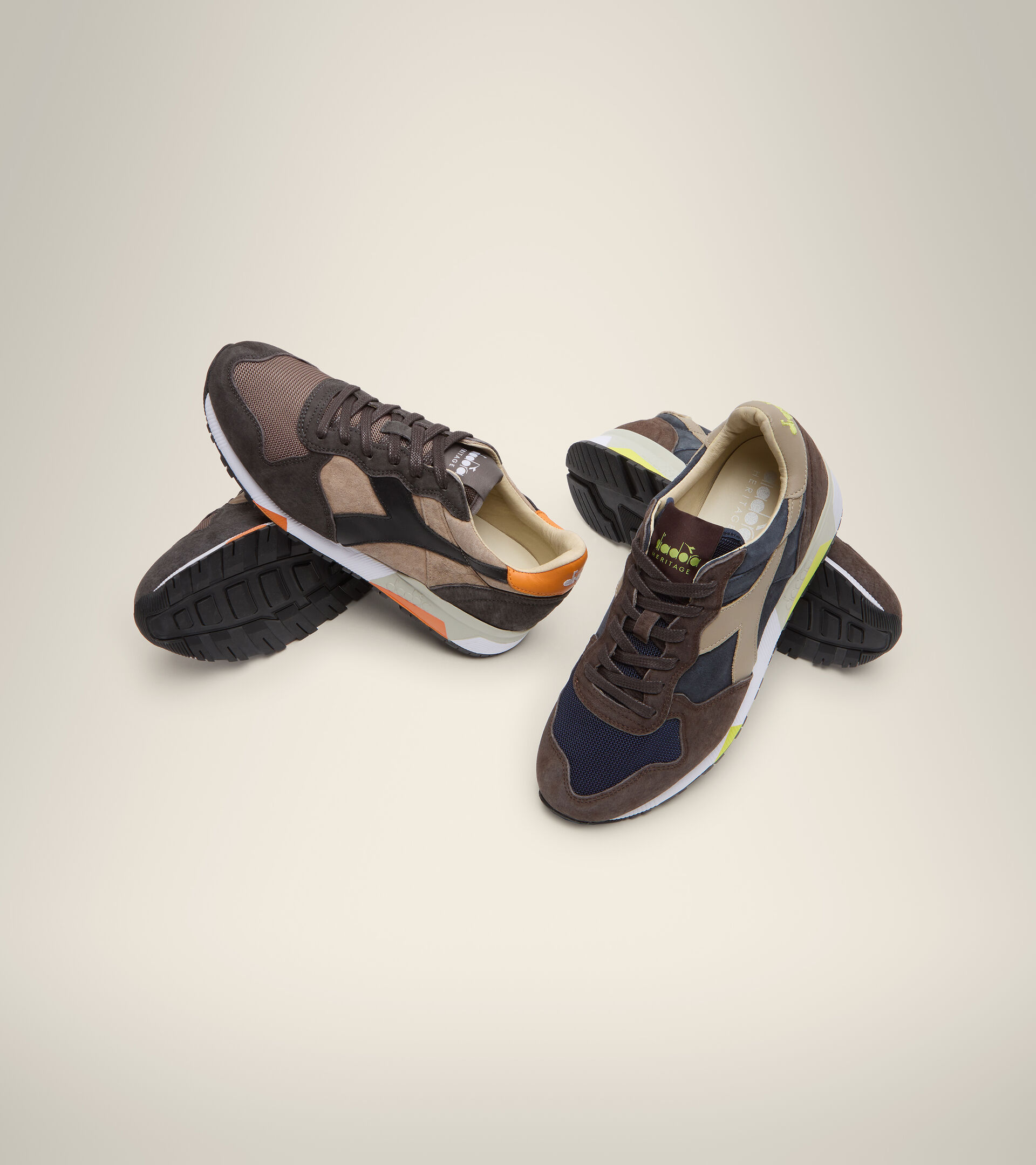 Made in Italy Heritage shoe - Men TRIDENT 90 SUEDE SW BLUE DENIM/BROWN TURKISH COFFE - Diadora