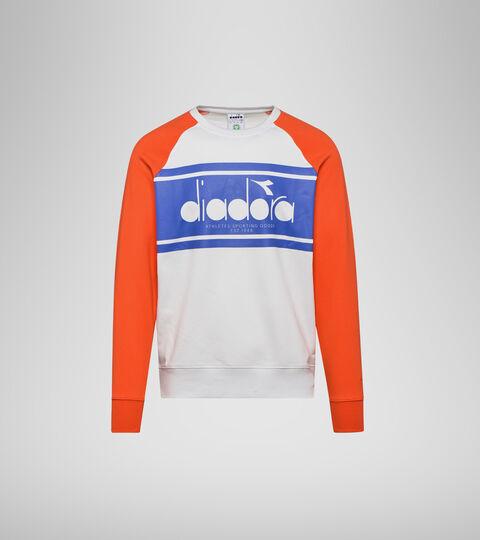 Sweatshirt with logo - Men SWEATSHIRT CREW SPECTRA ORANGEADE/WHITE MILK - Diadora