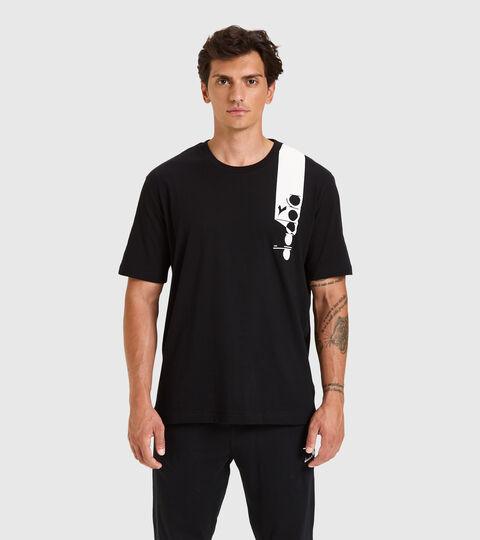 T-shirt - Unisex T-SHIRT SS ICON DARK SMOKE/WHITE/BLUE FLUO - Diadora