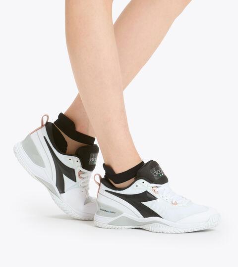 Clay and hard court tennis shoe - Women SPEED BLUSHIELD 5 W AG WHITE/SILVER/BLACK. - Diadora