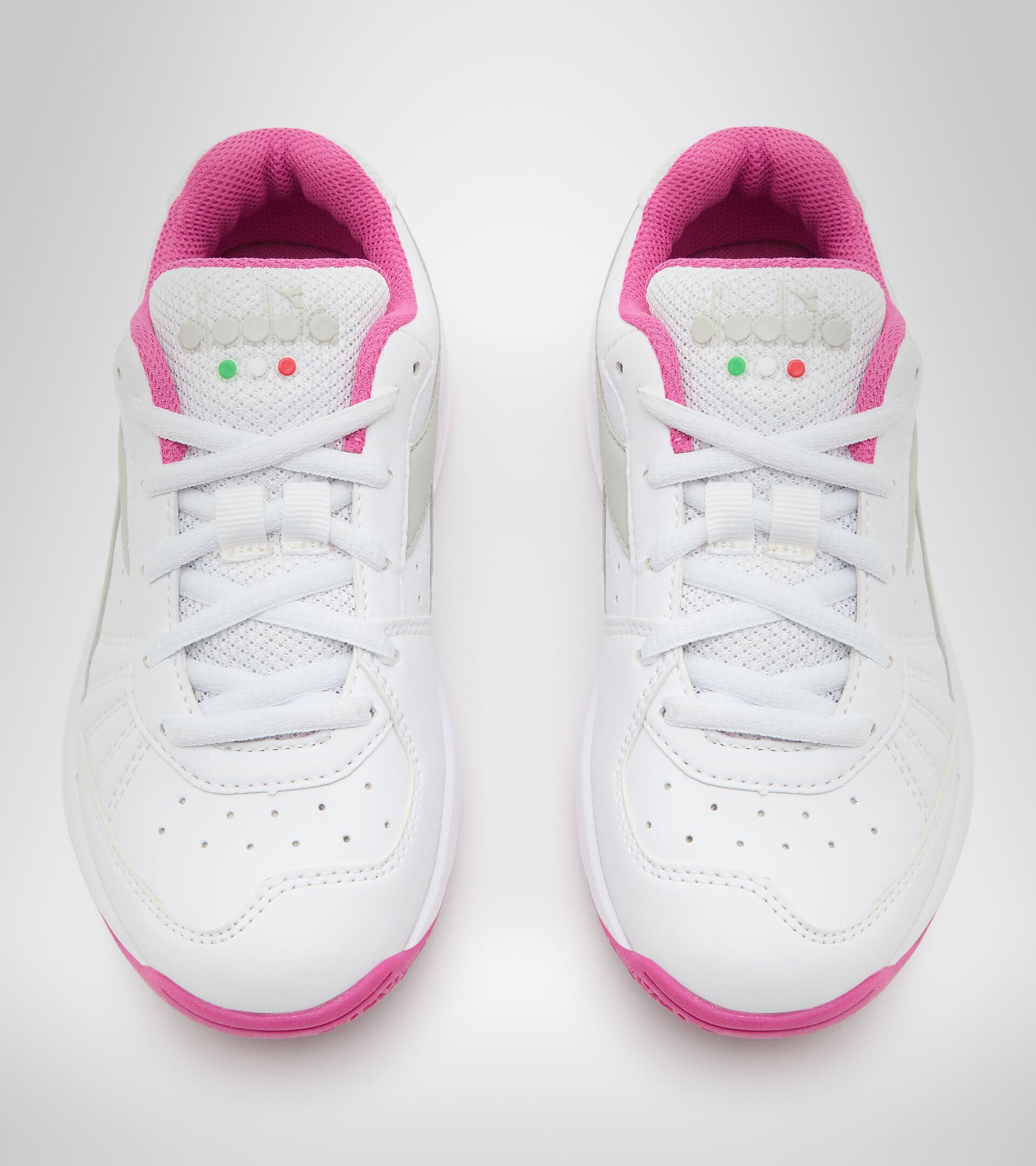 Zapatillas de tenis para terrenos duros y tierra batida - Unisex niños S. CHALLENGE 3 SL JR BLANCO/ROSA IBIS - Diadora