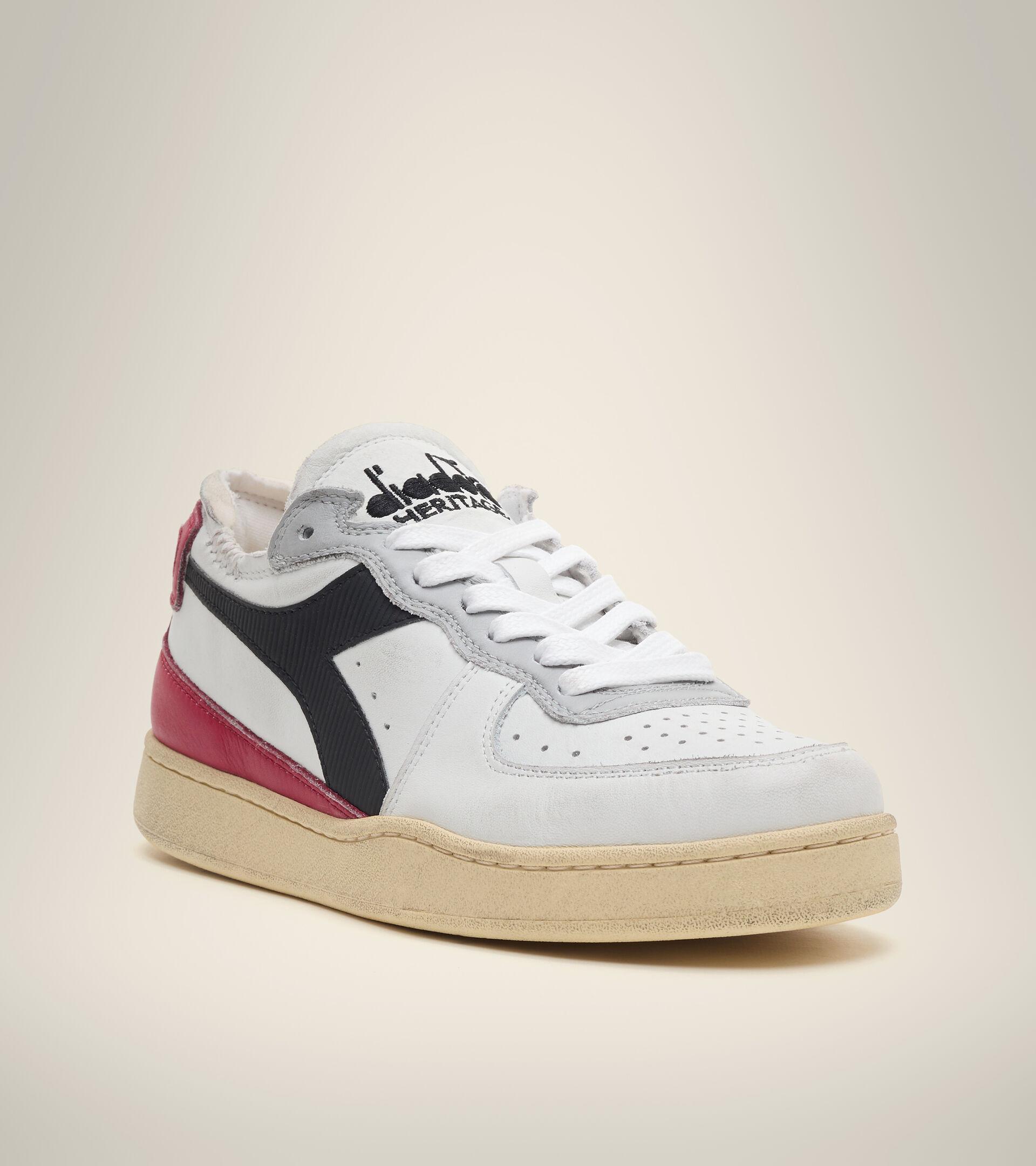 Footwear Heritage UNISEX MI BASKET ROW CUT WHITE/GARNET/BLACK Diadora