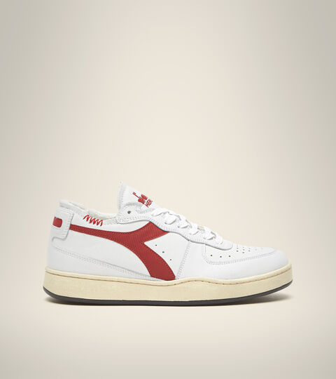 Heritage shoe - Unisex MI BASKET ROW CUT WHITE/GARNET - Diadora