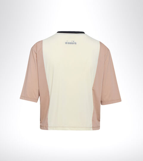 T-shirt de running - Femme L. SS T-SHIRT BE ONE TECH ROSE ACAJOU/BLANCHE MURMURE - Diadora